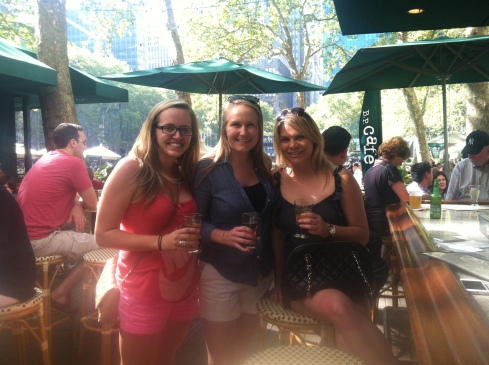 Me, Kathleen, and Michelle day-drinking in Bryant Park.