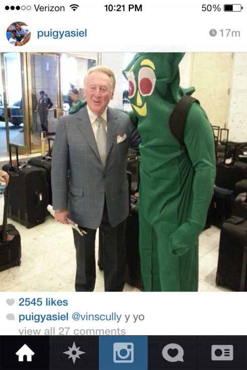 when Yasiel Puig dresses up as Gumby and hangs with Vinny.