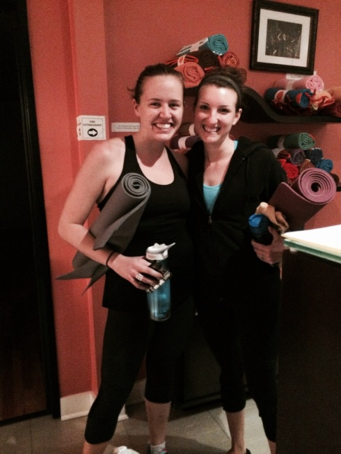 My friend Angela and I at YogaHop last week.