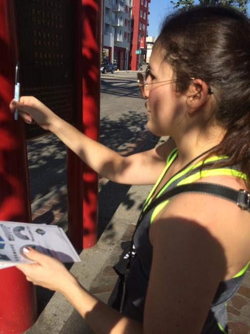 Jenn working her puzzle skills in Chinatown.